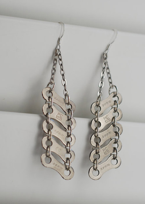 Chain bike link earrings