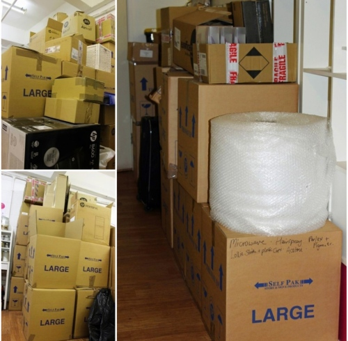 It takes a lot of boxes to pack the school - here are just a few