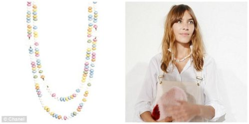 Chanel sweetie necklace and Alexa Chung at London Fashion Week 2014