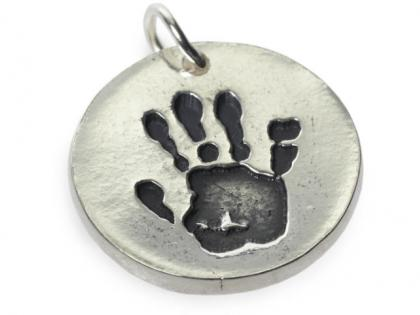 handprint metal clay jewellery