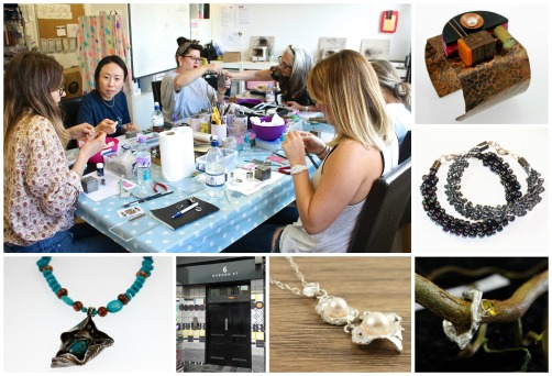 Clockwise from main pic: A metal clay class in our new studios: