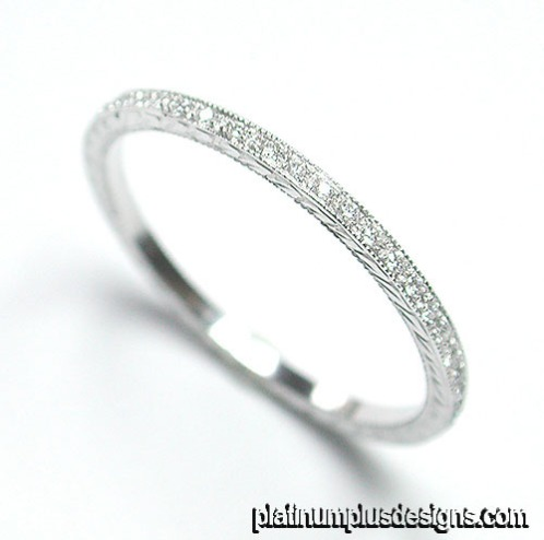 050-101 Micro Pave thin platinum wedding band