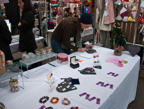 london-jewellery-school-blog-jewellery-business-course-setting up for a winter craft fair