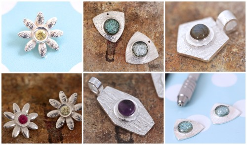 london-jewellery-school-blog-metal-clay-course-stone-setting-samples