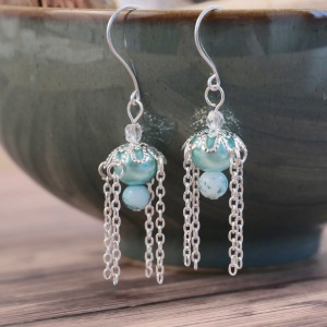 London-Jewellery-School-Beginners-Beading-Beaded-Drop-Earrings-with-Chain