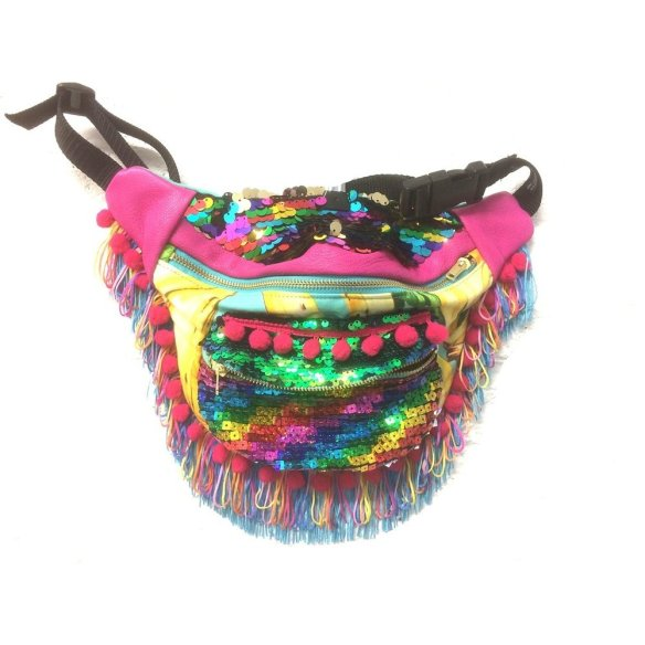 BAMBI-Leather-tassel-pompom-bumbag-fanny-pack-Bananas-sequins-festival-burningman