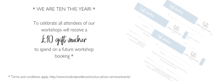 ten pound gift voucher from the London Jewellery School